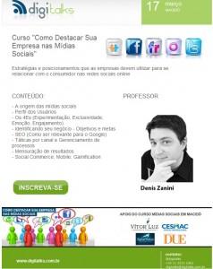 """Digitalks traz a Maceió o curso """"Como Destacar sua empresa nas Mídias Sociais"""""""